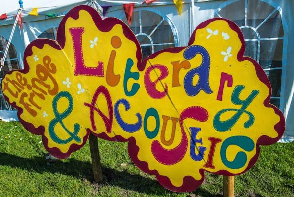 Literary & Acoustic Tent sign at Porthleven Food Festival